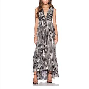 Alice + Olivia Lexa V Neck Ruched Maxi Dress